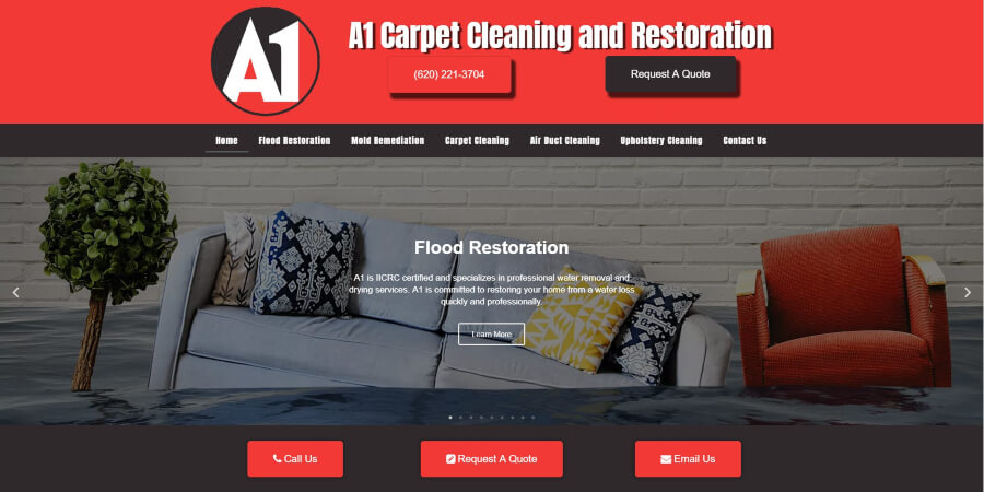Homepage for A1 Carpet Cleaning and Restoration