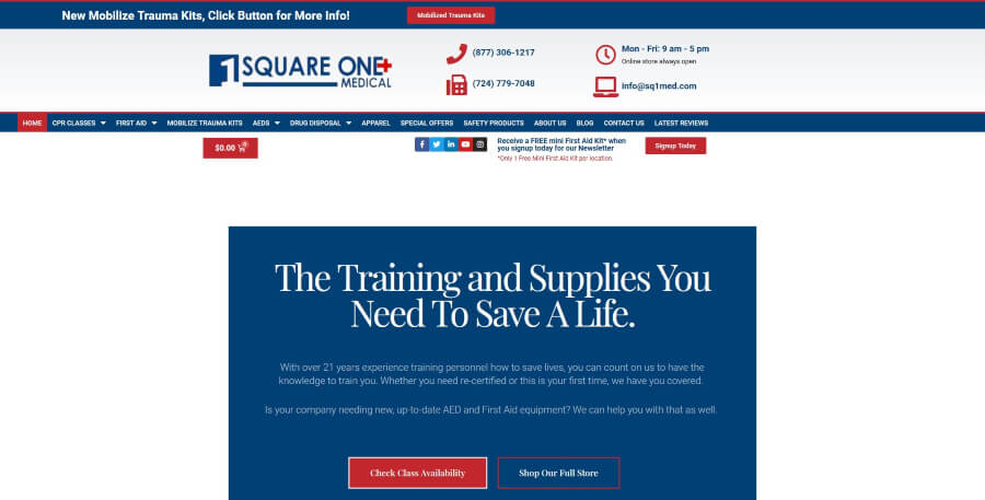 Homepage for Square One Medical