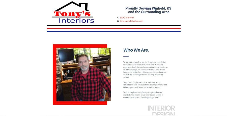 Homepage for Tony's Interiors