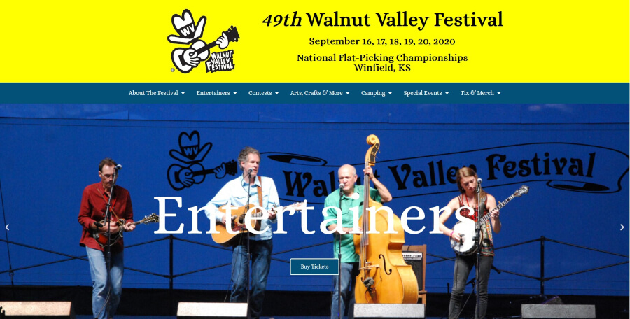 Homepage for the Walnut Valley Festival